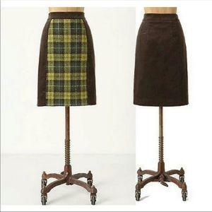 Anthropologie Maeve Corduroy Plaid  Skirt Size 6